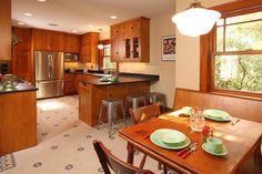 : Amazing Wood Kraftmaid Cabinets With Dark Countertop Shiny Pendant Light Artistic Floor Tile Ultimate Appliances Wood Nook
