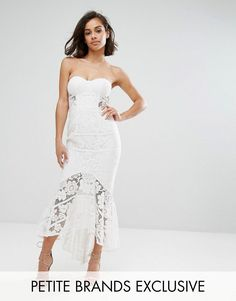 5f87a74e576348 Jarlo Petite Allover Lace Bandeau Midi Dress With Highlow Fishtail - W Lace  Bandeau