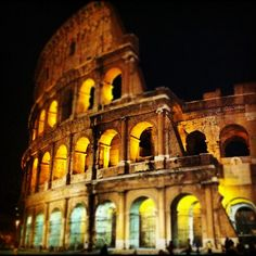 The mighty Colosseum at night! #travel #rome