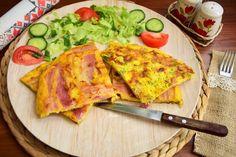 Aperitiv omleta cu malai, bacon si ceapa verde Vegetable Pizza, Bacon, Mexican, Vegetables, Ethnic Recipes, Green, Vegetable Recipes, Vegetarian Pizza, Pork Belly