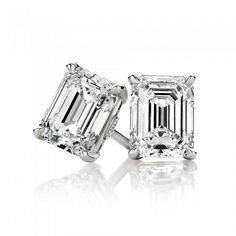 4TCW Emerald Cut Russian Lab Diamond Earrings Birthday Graduation Wedding Anniversary - Joy of London Jewels