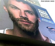 Interactive beard-board features remote-controlled strands of hair that grow with each Facebook 'Like'. South Africa, April 2012.