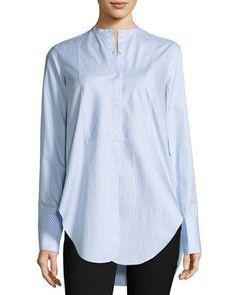 HELMUT LANG OXFORD STRIPE TUXEDO SHIRT, MEDIUM BLUE. #helmutlang #cloth #