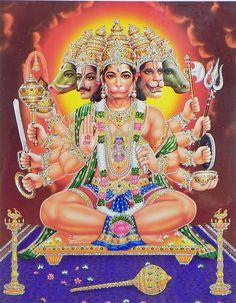 Panchamukhi Hanuman - (Laminated Glitter Poster) (Reprint on Paper with Plastic Lamination - Unframed) Hanuman Images Hd, Hanuman Ji Wallpapers, Hanuman Photos, Hanuman Chalisa, Shree Krishna, Ram Photos, Lakshmi Images, Hindu Deities, God Pictures
