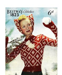 1940s Cat Ear Cap, Mittens and Jumper, the Snow Queen Set - 3 Knit patterns PDF 1823