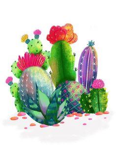 Cactus illustration by Deborah Curiel - Debcu Studio Cactus Drawing, Cactus Painting, Cactus Art, Kaktus Illustration, Cactus House Plants, Garden Cactus, Indoor Cactus, Cactus E Suculentas, Cacti And Succulents