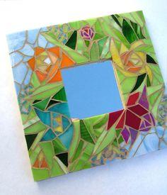 Espejo mosaico Bouquet de jardín por glassetc en Etsy