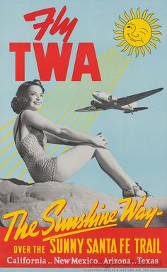 TWA Vintage Airline Poster / Air Travel / Airplane / Retro Travel Poster / Santa Fe