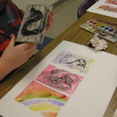 Art in the Middle...school: Printmaking 2014. Use back of the carved block as a monoprint plate. Nice series!