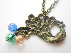 Buy 4 Get 1 FREE peacock pendant necklaces by VintageHomage, $32.00