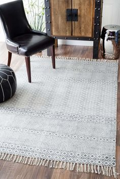 ChembraCH05 Block Printed Cotton Flatweave Varied Bands Rug