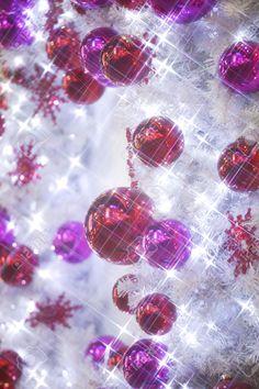 Weiß Weihnachtsbaum Mit Roten Und Lila Christbaumkugeln ...