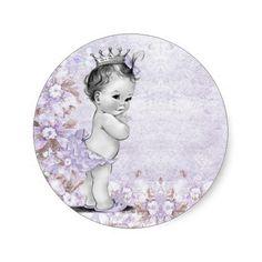 Vintage Lavender Purple Baby Shower Stickers