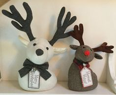 Fabric Reindeer Head Doorstop Mantel Decoration Christmas Vintage Style Rudolph…