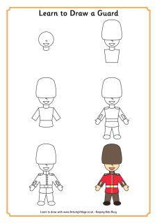 Olympic Coloring Pages (2012) and London culture, Learn to draw a Guard, the royal family... adorable!