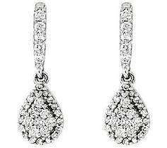 Diamond Teardrop Dangle Earrings Sterling 3/10ct by Affinity