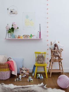 Colourful kids room with a mix of new and vintage pieces
