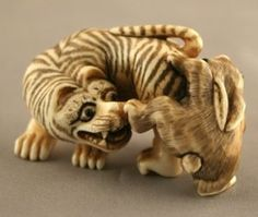 tiger and rabbit netsuke