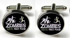Silver Bezel CuffLinks Glass Round Zombies Hate Fast Food Funny Wedding Brains