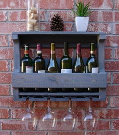 Rustic Weathered Gray Wall Mount Wine Rack with 4 Glass Slot Holder and Shelf on Etsy, $65.00