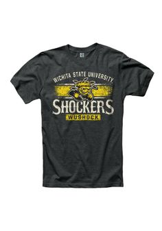 Wichita State Shockers T-Shirt - Black WSU Shock Short Sleeve Tee http://www.rallyhouse.com/shop/wichita-state-shockers-new-agenda-wichita-state-shockers-tshirt-mens-black-arch-tshirt-22789525 $19.99