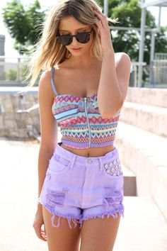 Love this top!  Bralette and High Waisted Shorts