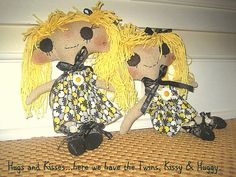 Kissy and Huggy Twin cloth dolls by janeylaughs on Etsy, $109.00