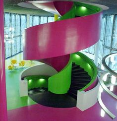 Colourful stairs at IKMZ Library of the Brandeburg University in Cottbus, Germany by Herzog & de Meuron Architecture