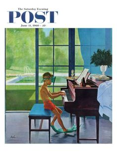 """Poolside Piano Practice,"" Saturday Evening Post Cover, June 11, 1960 Giclée-Druck von George Hughes bei AllPosters.de"