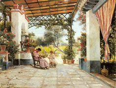 Mother and Daughter Sewing in a Patio  Manuel Garcia y Rodriguez