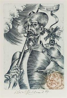 Don Quijote de la Mancha 1547 & 1997 (Don Quixote and Sancho Panza) Man Of La Mancha, Dom Quixote, Leo Tattoos, Chivalry, Ex Libris, Gravure, Screen Printing, Knight, Fine Art Prints