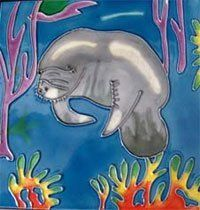 Manatee Ceramic Wall Art Tile 4x4 Coaster by J. $14.95. Raised Relief Wall Art. Use as a coaster, wall hanging or put into your backsplash. Hand Painted, Colors will never fade. Great gift. Beautiful High Gloss Raised-Relief, Hand-Painted Jumping Dolphin Tile. Each Tile has a cork back and hanger. Great as a coaster or wall hanging. These tiles look great in a kitchen, bath, or even a child's room. Great Gift Item! Crackled glaze appearance is a normal characteristic of th...