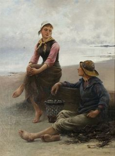 """Conversation by the Sea"" -- by August Vilhelm Nikolaus Hagborg (Swedish, 1852–1921)"
