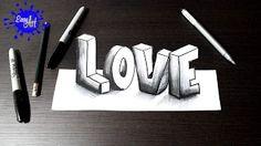 dibujos de corazones en 3d - YouTube