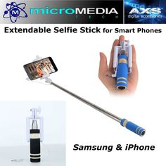 Extendable Handheld Wired Remote Shutter Selfie Stick Monopod for iPhone Samsung #MicroMediaAXS