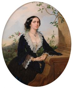 1857 Austrian Lady by Richter Cute Girl Pic, Cute Girls, 1850s Fashion, European Dress, Queen Victoria, Portrait Art, Victorian Era, Fashion Prints, Dame