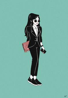 Rachna Soun drew some rad illustrations of Vans girls. Like this run-the-world chick