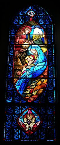 Stained glass windows in the sanctuary of First Lutheran Church Knoxville, TN