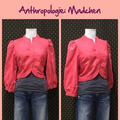 """Anthro """"Melon Sipper Jacket"""" by Madchen Old school Anthro. Fully lined. Snap front closure. Coral colorway   Great condition.  **  Prices are as listed- Nonnegotiable.  I'm happy to bundle to save shipping costs, but there are no additional discounts.  No trades, paypal or condescending terms of endearment  ** Anthropologie Jackets & Coats"""