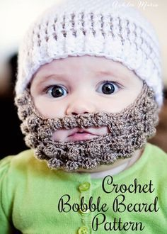 free pattern for a crochet bobble beard to attach to your favorite beanie - multiple sizes, and ADORABLE