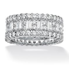 Ultimate CZ Platinum over Sterling Cubic Zirconia Eternity Band