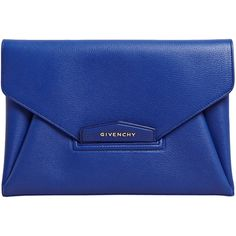 Givenchy Women's Antigona Envelope Clutch Bag (2.400 BRL) ❤ liked on Polyvore featuring bags, handbags, clutches, purses, bolsas, accessories, blue, blue clutches, handbags purses and blue purse