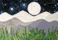 Fabric Postcard, Moonlit Evening Quilted Fabric Postcard, Rocky Mountain Landscape via Etsy