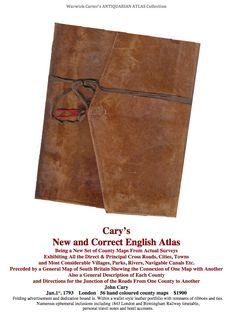 Cary's New and Correct English Atlas 1793 County Map, New Set, English, English Language