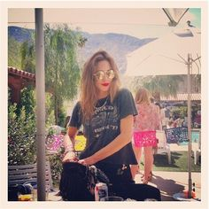Gillian Zinser- tee + necklace + lipstick