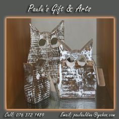These beautiful wooden owls are in our store. Call us on: 076 372 1489 Wooden Owl, Coffee Crafts, Owls, Arts And Crafts, Store, Gifts, Beautiful, Decor, Decoration