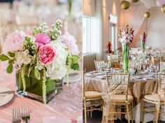 Gold pink and white wedding at the Country Club of the Crystal Coast in Pine Knoll Shores NC. Photos by Cynthia Rose Photography.