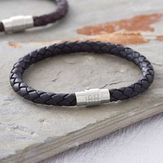 Men's Personalised Clasp Plaited Leather Bracelet - gifts for him Engraved Bracelet, Bracelet Clasps, Personalized Leather Bracelets, Man Bracelet, Valentines Gifts For Him, Gifts For Brother, Braided Leather, Leather Necklace, Stainless Steel Bracelet