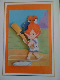 Baseball Playing Pebbles Flintstone Greeting Card - 3d decoupage A5 size