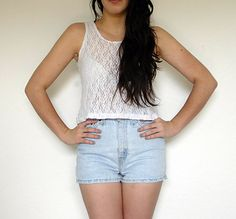 Vintage 90s Lace Crop Top  White  S/M by jemesuis on Etsy, $18.00